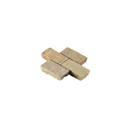 Beige Riven Sandstone Setts - 6.1m2 Pack, 100x200x40-70mm