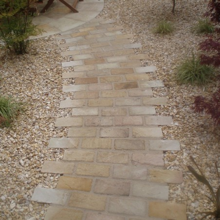 Mint Riven Sandstone Setts - 6.1m2 Pack, 100x200x40-70mm