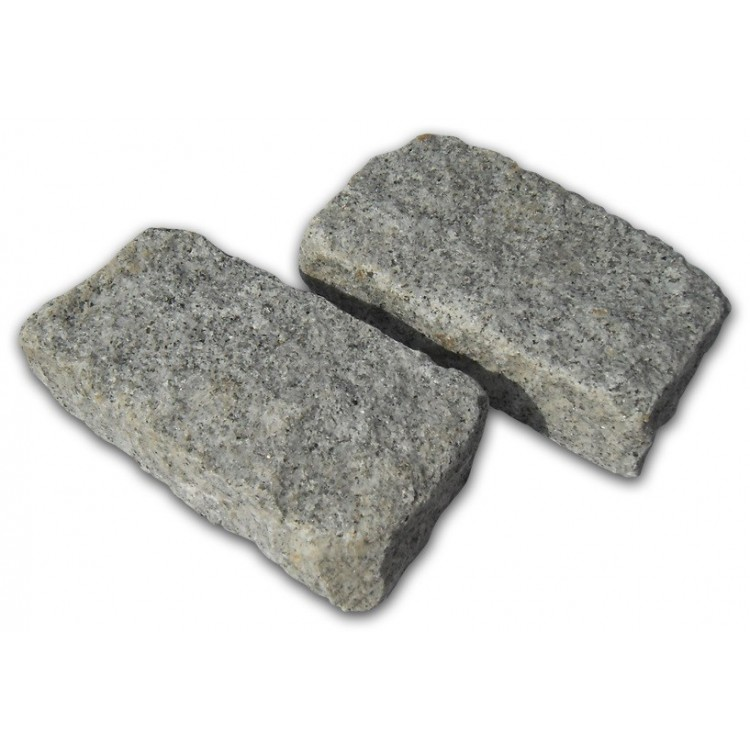 Silver/Grey Cropped Granite Setts - 8m2 Or 4m2 Packs, 100x50x200mm