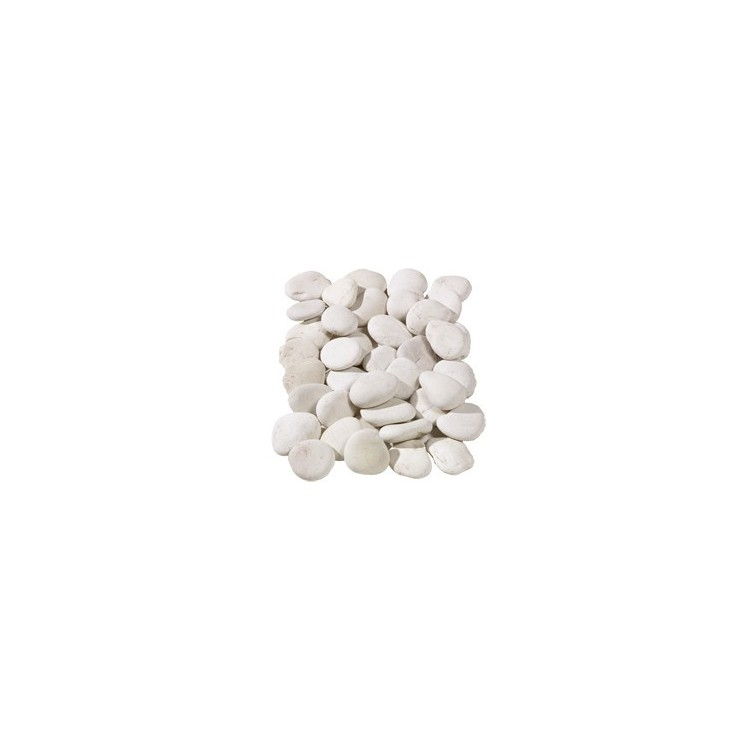 Flat White Pebbles 20-40mm - Available in poly bags or bulk bags