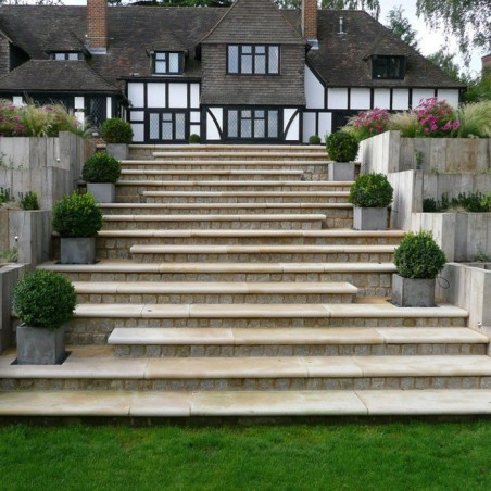 Buff Sawn & Sandblasted Sandstone Steps - 5,10 & 15 unit packs available