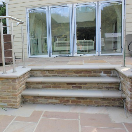 Pink Sawn & Sandblasted Sandstone Steps  - 5,10 & 15 unit packs available
